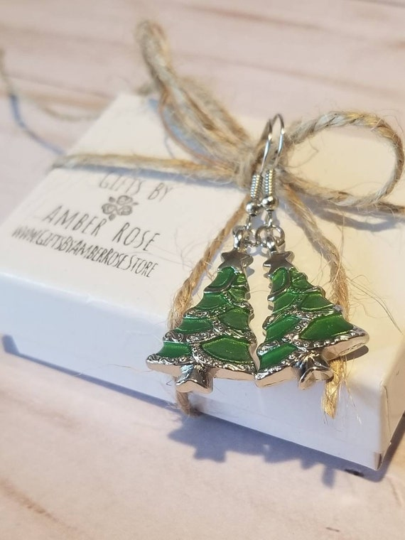 Christmas Tree Dangle Earrings | Holiday Earrings | Stocking Stuffer | Festive Jewelry | Christmas Party Jewelry | Christmas Jewelry