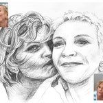 Charcoal pencil portrait sketch on white cartridge paper.  Custom-made, hand-drawn, original portrait of two people, taken from photo.