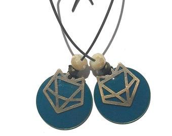 Boucles d'oreilles pendantes  bleu canard avec tête de renard, perles blanches et bronze art nouveau 1920 cadeau maitresse école