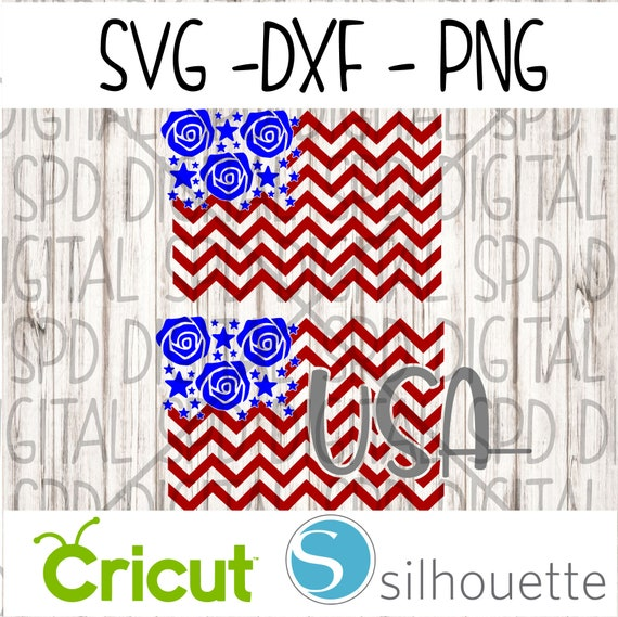 USA svg, Chevron Flag svg, 4th of July svg, DXF, png, SVG, cutting files  for Silhouette and Cricut