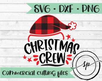 Christmas Crew svg, Christmas svg, buffalo plaid svg, santa hat svg, cutting file, SVG, DXF, PNG