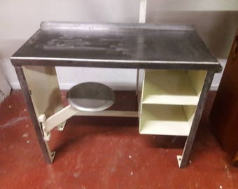 Delicieux Vintage Steel Prison Desk With Built In Chair