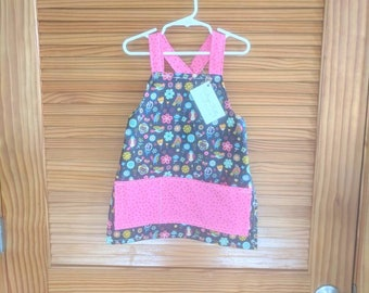 Little girl apron preschool size 2t 3t 4t 5t floral with birds 100% cotton washable cooking crafts playing easy no tie straps
