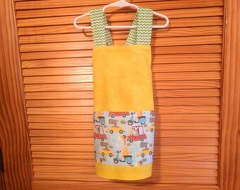 Preschool size apron, little cars and zoo animal theme multicolor perfect for boys or girls cooking and crafting art too