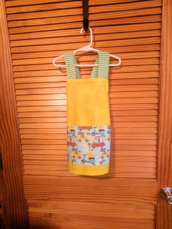 Preschool Size Apron Little Cars And Zoo Animal Theme Multicolor Perfect For Boys Or Girls Cooking And Crafting Art Too