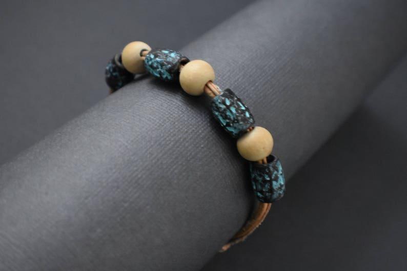 Bracelet  Leather wood metal image 0