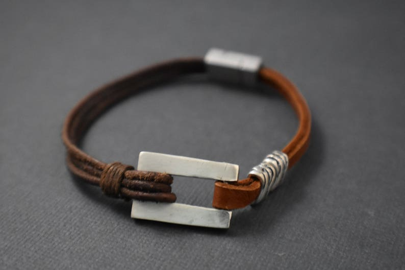 Bracelet  Combination of double lace deerskin round leather image 0