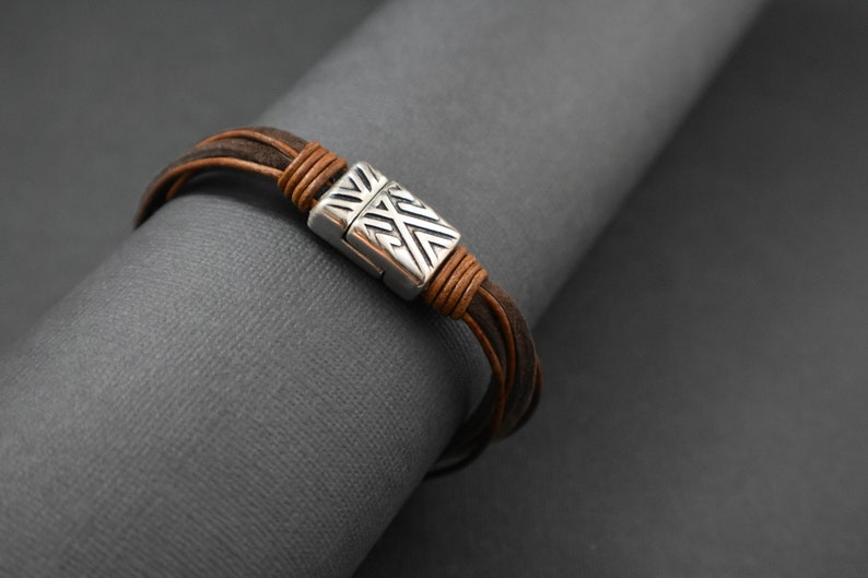 Men bracelet Genuine leather handmade image 0