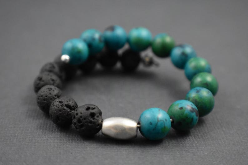 Bracelet One size fits all. Volcanic stone and turquoise image 0