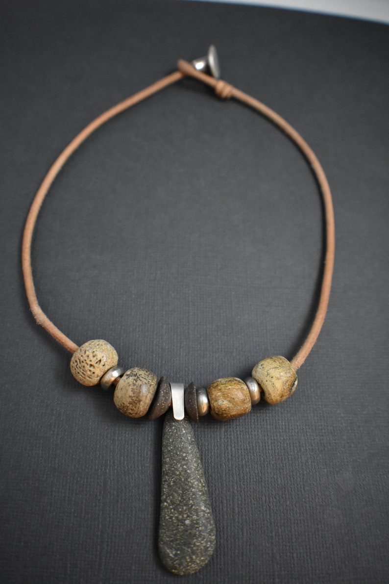Necklace natural stone dinosaur beads leather and silver image 0