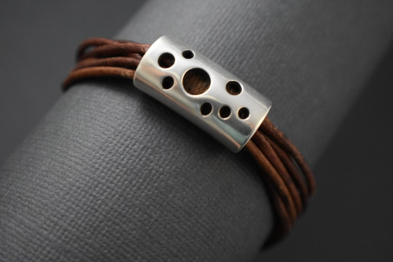 Bracelet  Perforated design spacer. Brown distressed round image 0
