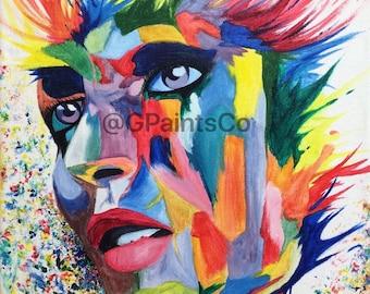 "Rainbowoman - Abstract Acrylic Portrait Print 9""x12"""