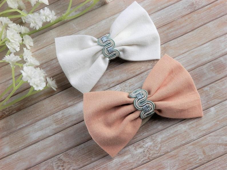 Set of 2 Bows White Beige Lace Bow Baby Headband Newborn Infant Toddler Headband