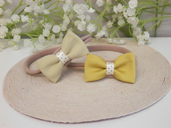 Mustard baby headband set yellow bow newborn headband baby  91b591df238