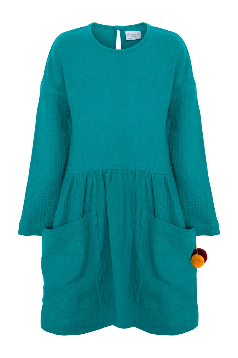 cotton dress muslin dress Turquoise dress with big pockets dress for girls