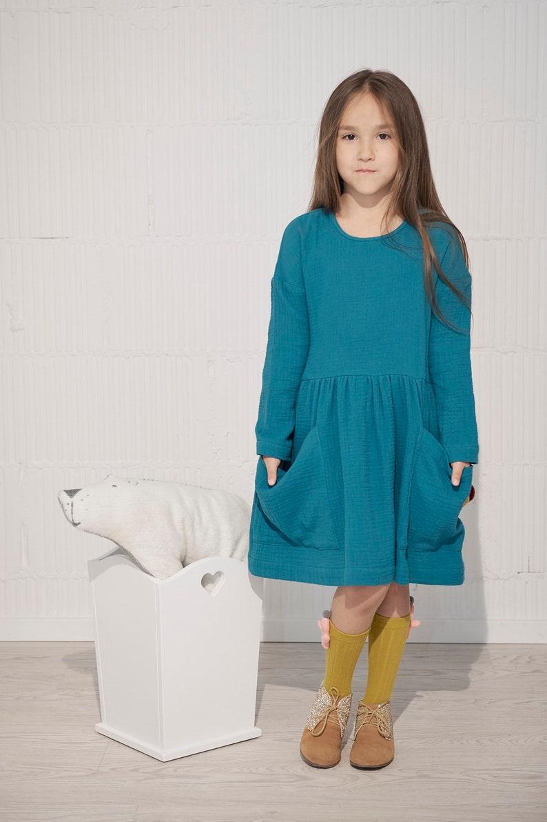6c6a36eb0b3b2e Turkusowa sukienka z kieszeniami granatowa sukienka dla | Etsy