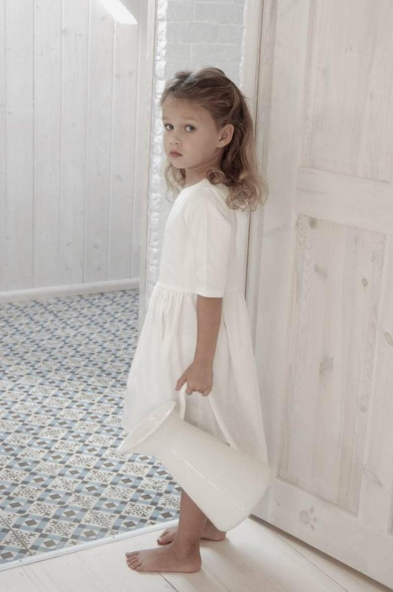 promo code 7d486 7712d Abito ecru, abito elegante ragazza vestito ragazza semplice, comunione  vestito, vestito dalla ragazza di occasioni speciali, asimmetrica vestito  ...