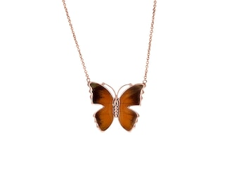 Real Butterfly Wing Necklace. Butterfly Necklace. Butterfly Wing Jewelry. Delias Aurantiaca Wing Necklace.