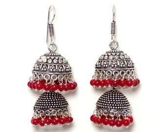 Tanya Red Jhumka Earrings