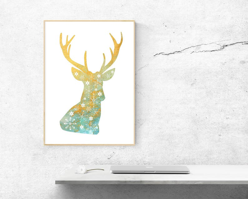 image regarding Printable Reindeer Antler identify Printables Reindeer Antler Deer Silhouette Snowflakes Watercolor Artwork Example Electronic Print Report Ground breaking Aquarell Xmas