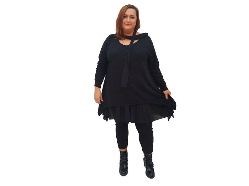 Top Tunic Loose Baggy Long Sleeve Frill Scarf Lagenlook Plus Size l1017/_black