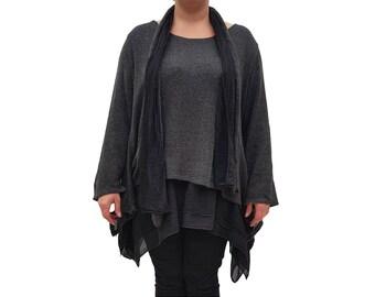 Wolfairy Women's Plus Size Tunic Kaftan Frill Scarf L422
