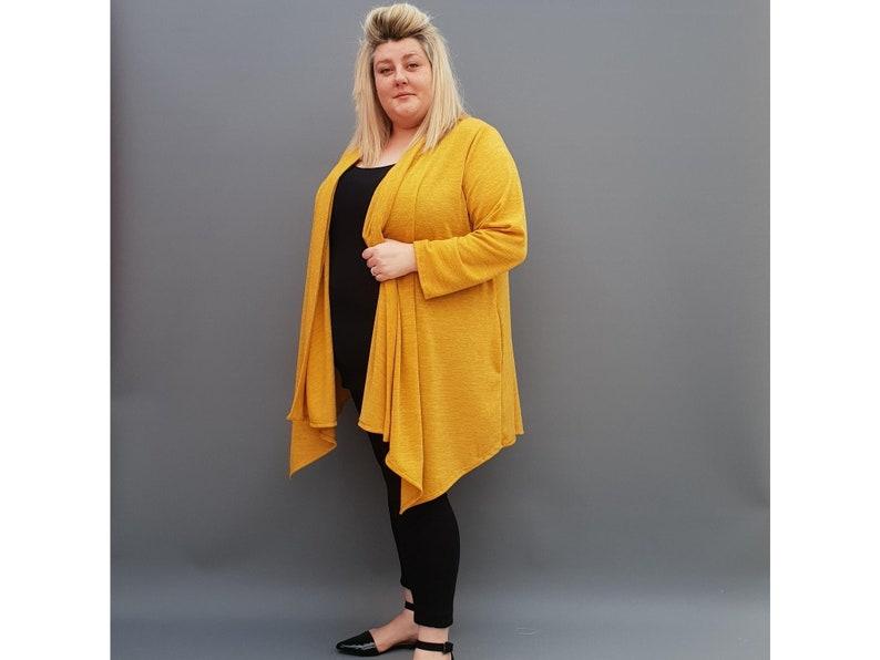 l1115/_yellow Womens Plus Size Cardigan Long Sleeves Open Front Handkerchief Hem
