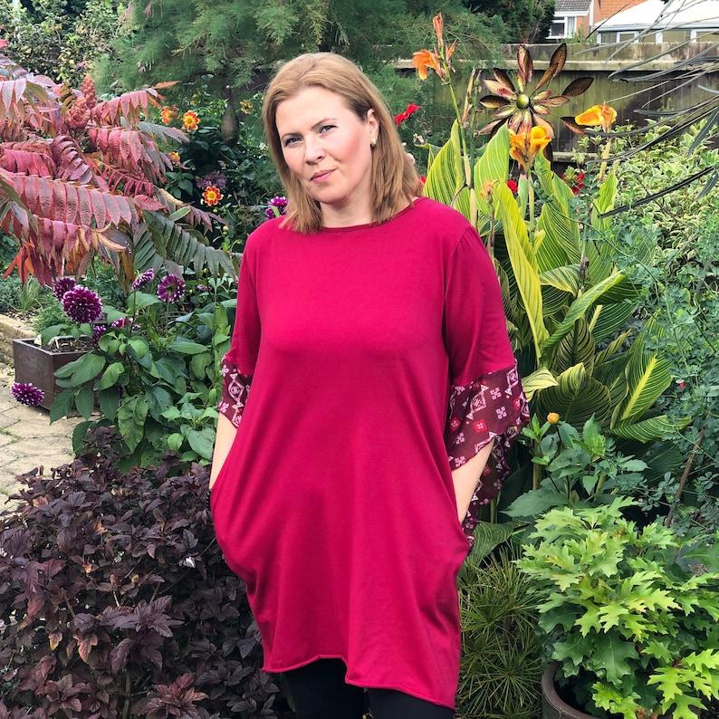 l1094/_wine Womens Plus Size Cotton A Line Tunic Top Plain Lagenlook Loose Asymmetrical Chiffon Sleeve