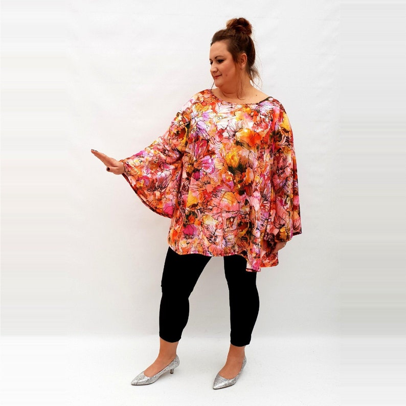 Wolfairy Womens Plus Size Top Blouse Long Sleeve Floral Print Lagenlook Jersey