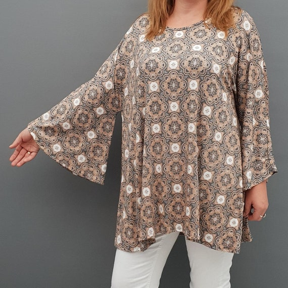 Wolfairy Womens Plus Size Top Blouse Lagenlook Embellished Autumn Kaftan