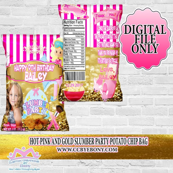 Pink And Gold Slumber Party Potato Chip Bag Party Favor Etsy