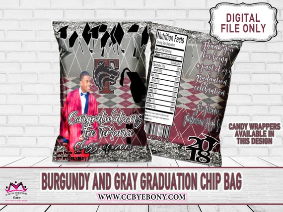Burgundy And Gray Potato Chip Bag Party Favor Graduation Etsy