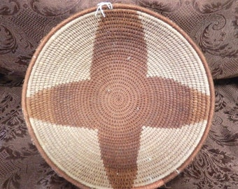 """Vintage South American Coiled Basket (B) with geometric motif 7"""" in terrific condition"""