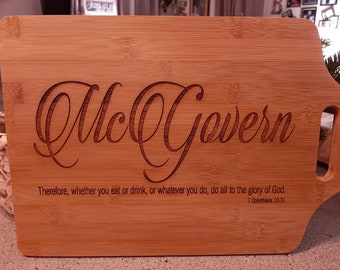 Genuine Bamboo Cutting Board / Personalized Customized Cutting Board / Gift for Her or Him / Unique Housewarming Gift / My Custom Swag