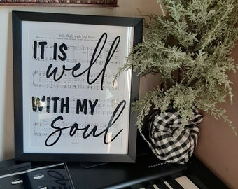 Hymn Wall Decor / It is Well with My Soul / Framed Sheet Music / Gift Idea / Musical Wall Decor / Gift under 25 / Praise Music / Christian
