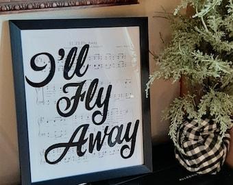 Hymn Wall Decor / I'll Fly Away / Framed Sheet Music / Gift Idea / Musical Wall Decor / Gift under 25 / Praise Music / Christian Decor