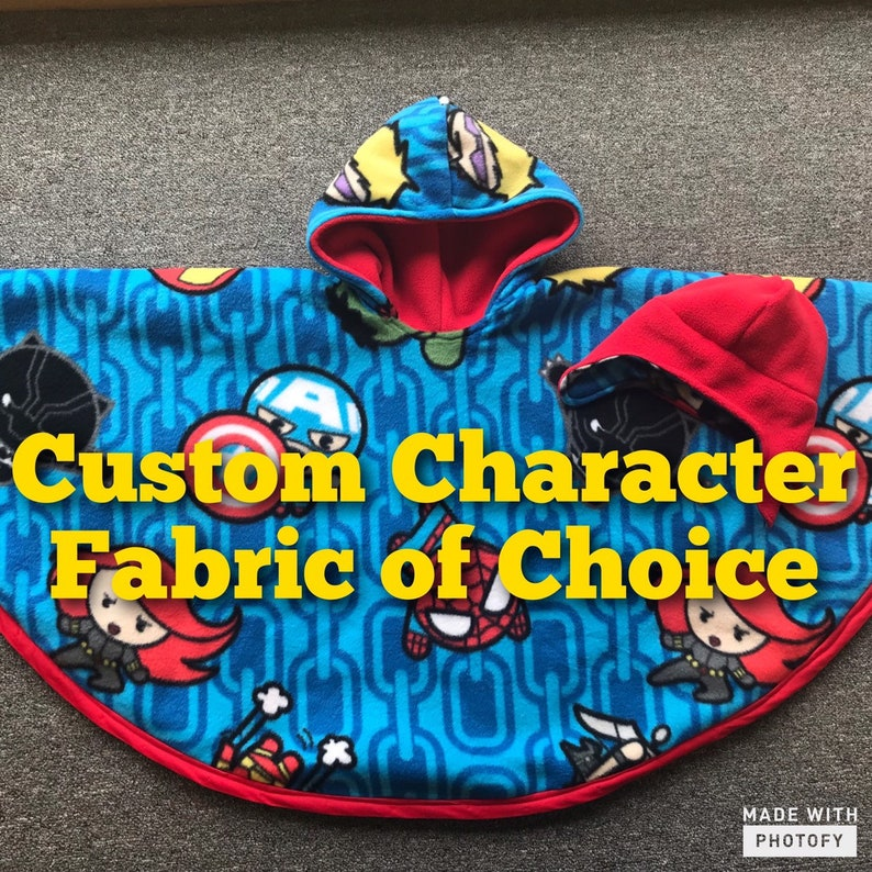 Custom Character Pattern Poncho with Hat Set