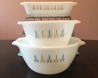 Fire King by Anchor Hocking Candle Glow Bowl & Loaf set