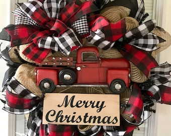 christmas wreath red truck wreath red truck farmhouse christmas wreath buffalo plaid wreath winter wreath buffalo plaid farmhouse - Christmas Wreaths Etsy