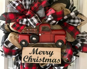 Christmas Wreath, Red Truck Wreath, Red Truck, Farmhouse Christmas Wreath,  Buffalo Plaid Wreath, Winter Wreath, Buffalo Plaid, Farmhouse