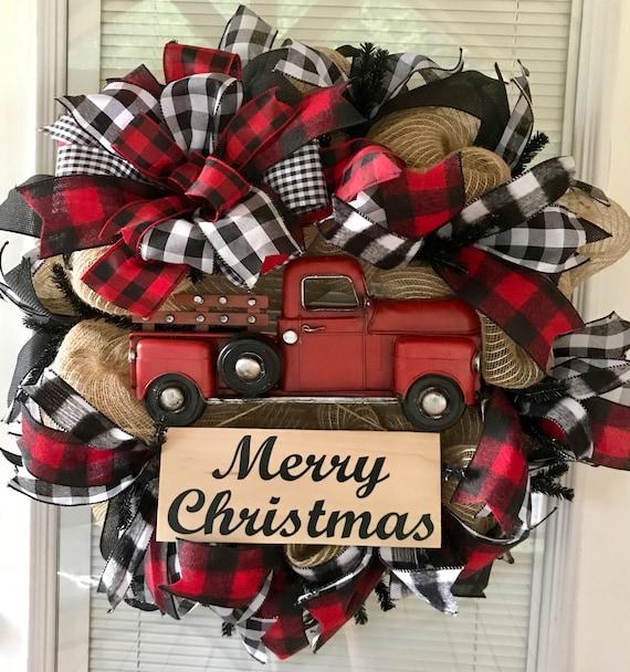 Christmas Wreath-Rustic Christmas Wreath-Farmhouse Christmas-Wreath-Winter Wreath-Buffalo Plaid Christmas-Holiday Wreath-Christmas Door