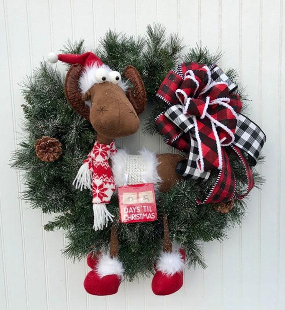 Farmhouse Christmas Moose Christmas Wreath Gray Plaid Moose Wreath Moose Christmas Wreath Farmhouse Wreath Rustic Wreath