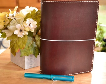 A5 Executive Leather Traveler's Notebook Cover: Brown