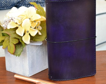 Regular Executive Leather Traveler's Notebook Cover: Purple