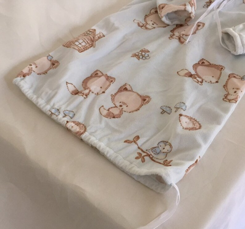 Woodland friends newborn hooded snuggle sack with matching booties newborn boy coming home gift set infant swaddle photo prop