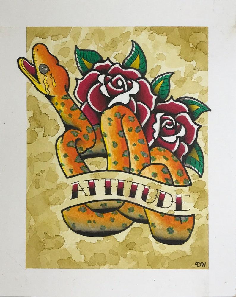 Amazon Tree Boa, Attitude, Snake Art, Traditional Tattoo Flash, Reptile  Acrylic Ink Painting Artwork, Original, Print