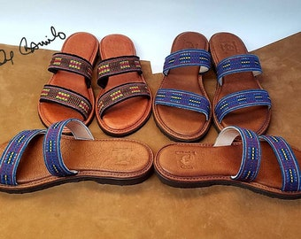 Handmade Sandals,  USA,Designed By Camilo, leather or rubber sole,unique style,upper made with a beautiful handwoven textile from Ecuador.