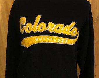 the best attitude 15aa6 501aa Vintage 90s University of Colorado Buffaloes football basketball Starter  1990s Black Sweatshirt - vintage big 12 sweatshirt (Large)
