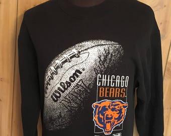 Vintage Chicago Bears 1990s NFL Football Black Crewneck Sweatshirt - bears  sweatshirt - nfl vintage sweatshirt - football (Medium) 1304cfe10
