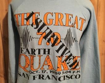 Vintage I Survived The Great 7.0 Earthquake San Francisco Baseball 1989  Sweatshirt - Oakland Athletics - vintage sweatshirts (XL) ff20c640153